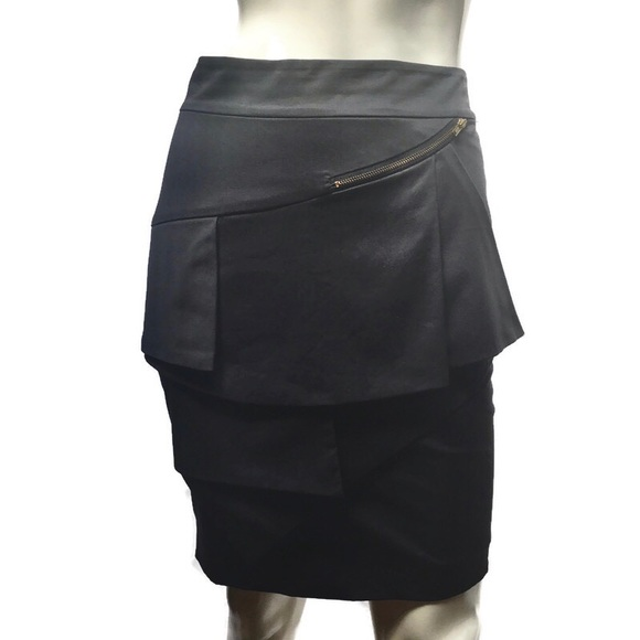 Reiss tiered pleated peplum black pencil skirt XS